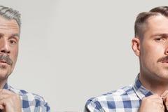 Collage av två stående av den samma gamala mannen och unga mannen Lyfta för framsida, åldras och skincarebegrepp Conparison arkivfoto