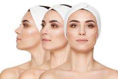 Collage av unga flickan med att bry sig hud efter skönhetsalong arkivfoton