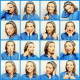 Collage av unga kvinnaframsidauttryck Arkivfoto