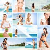 Collage av unga kvinnor som kopplar av på stranden Royaltyfria Foton