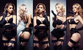 Collage av unga och sexiga kvinnor i erotisk damunderkläder Royaltyfria Foton