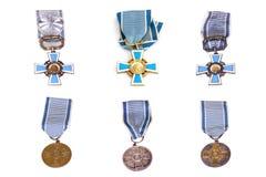 Collage av utmärkelser för Finland statsportar Kouvola 12 03 2017 Royaltyfri Fotografi