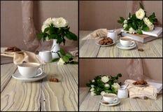 Collage av vita rosor för cappuccino och royaltyfria bilder