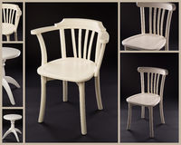 Collage av vitmöblemang fotografering för bildbyråer