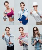 Collage av yrkesmässiga arbetarstående arkivbild