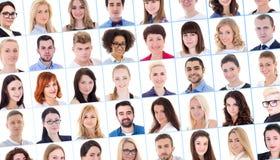 Collage avec beaucoup de gens d'affaires de portraits au-dessus de blanc Photos libres de droits