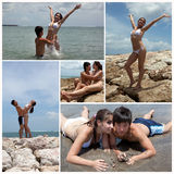 Collage avec des couples sur la plage Photo stock