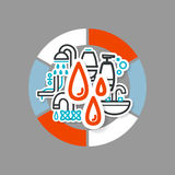 Collage avec des icônes - une salle de bains Photographie stock