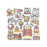Collage avec des jouets pour des bébés et des garçons illustration stock