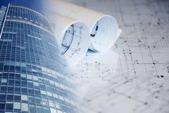 Collage avec des plans de construction, bâtiments Image stock