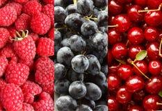 Collage avec différents fruits, baies de couleur rouge et bleue Photos stock