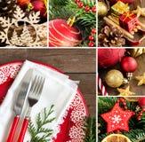 Collage avec l'arrangement de fête de table Photographie stock libre de droits