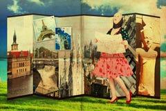 Collage avec la jeune femme de beauté, cru Photos libres de droits