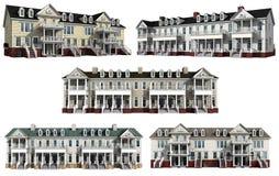Collage avec les modèles 3d des condominiums à plusiers étages Photo libre de droits