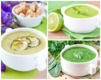 Collage avec soupes crèmes pour le menu Images stock