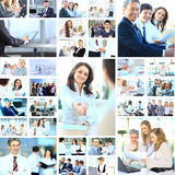 Collage avec travailler d'hommes d'affaires Photo stock