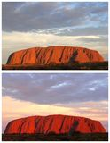 Collage of colorful sunsets, Uluru Ayers Rock, Australia. Collage with different colors of Ayers Rock during sunset in Australia; Ayers Rock is the biggest rock Stock Photo