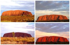 Colorful collage of Uluru Ayers Rock (Unesco) sunsets, Australia
