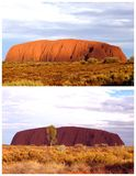 Collage of Uluru Ayers Rock (Unesco) landscapes, Australia. Collage with different colors of Ayers Rock during sunset in Australia; Ayers Rock is the biggest Stock Photos