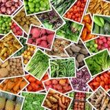 collage bär fruktt grönsaker Arkivfoto