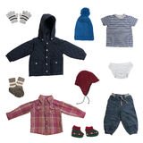 Collage of baby clothes Stock Photography