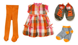 Collage baby clothes set.Isolated. Stock Images