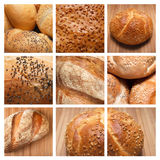 Collage - baked bread. Assortment of baked bread on a collage Stock Photo