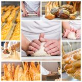 Collage of Baker's hands with a bread. Collage of Baker's hands with a bread Stock Photography
