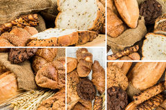Collage of bakery  food close-up for background Stock Image