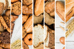 Collage of bakery  food close-up for background Stock Images