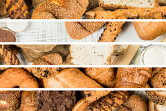 Collage of bakery  food close-up for background Stock Photos