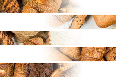 Collage of bakery food close-up for background Royalty Free Stock Photography