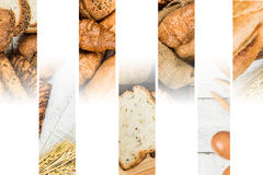Collage of bakery food close-up for background Royalty Free Stock Photos