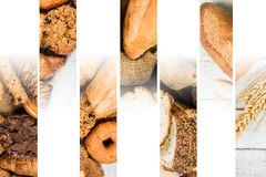 Collage of bakery food close-up for background Royalty Free Stock Images