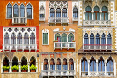 Collage of balconies in Venice, Italy