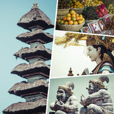 Collage of Bali Indonesia images - travel background my photo Royalty Free Stock Images