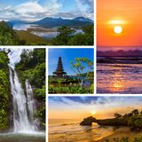Collage of Bali Indonesia travel images my photos. Nature and architecture background stock photos