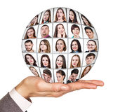 Collage ball of people with emotions Stock Image