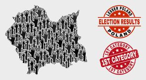Collage of Ballot Lesser Poland Voivodeship Map and Scratched 1St Category Stamp Seal. Election Lesser Poland Voivodeship map and seal stamps. Red rounded 1St royalty free illustration