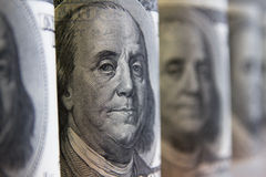 Collage, banknotes of the American dollars Stock Photo