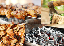 Collage from barbecue images. Collage from images on barbecue theme stock photo