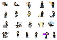 Collage barbuto del carattere comico del tipo Illustrazione Vettoriale
