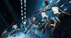 Collage. Basketball player on big professional arena during the game. Basketball player making slam dunk.