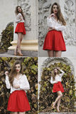 Collage of bautiful young girl in red fashion clothing. Outdoor autumn Stock Photo