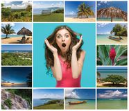 Collage of beach holiday scenes in Jamaica. The collage with happy young woman and views of Jamaica. concept travel and tourism Stock Images