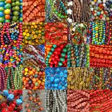 Collage with beads collections Royalty Free Stock Image