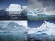 Collage of beautiful Antarctic icebergs. Stunning shapes and colors of icebergs floating in Antarctic waters Royalty Free Stock Image