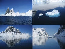 Collage of the beautiful Antarctic landscape of the Lemaire Chan Royalty Free Stock Photography