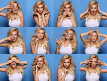 Collage of beautiful blonde woman royalty free stock photos