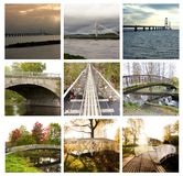Collage of beautiful bridges in Russia, Finland, Sweden and Denmark. 14 August 2018 Kouvola, Finland. Collage of beautiful bridges in Russia, Finland, Sweden stock images